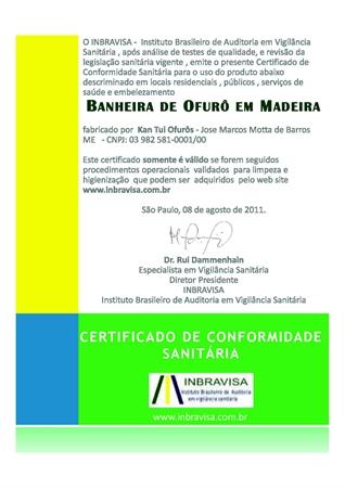 Certificado de Conformidade Sanitária